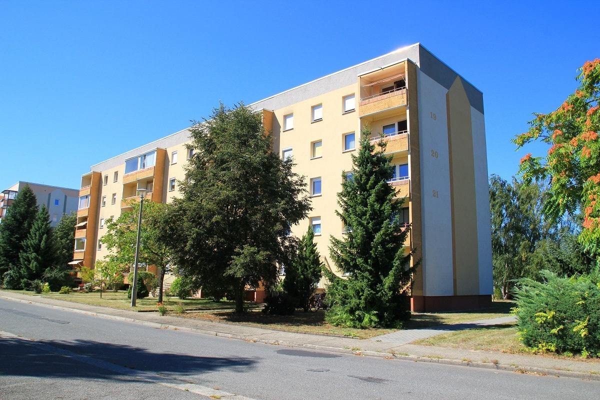 Häuser Fassade eines Mehrfamilienhauses